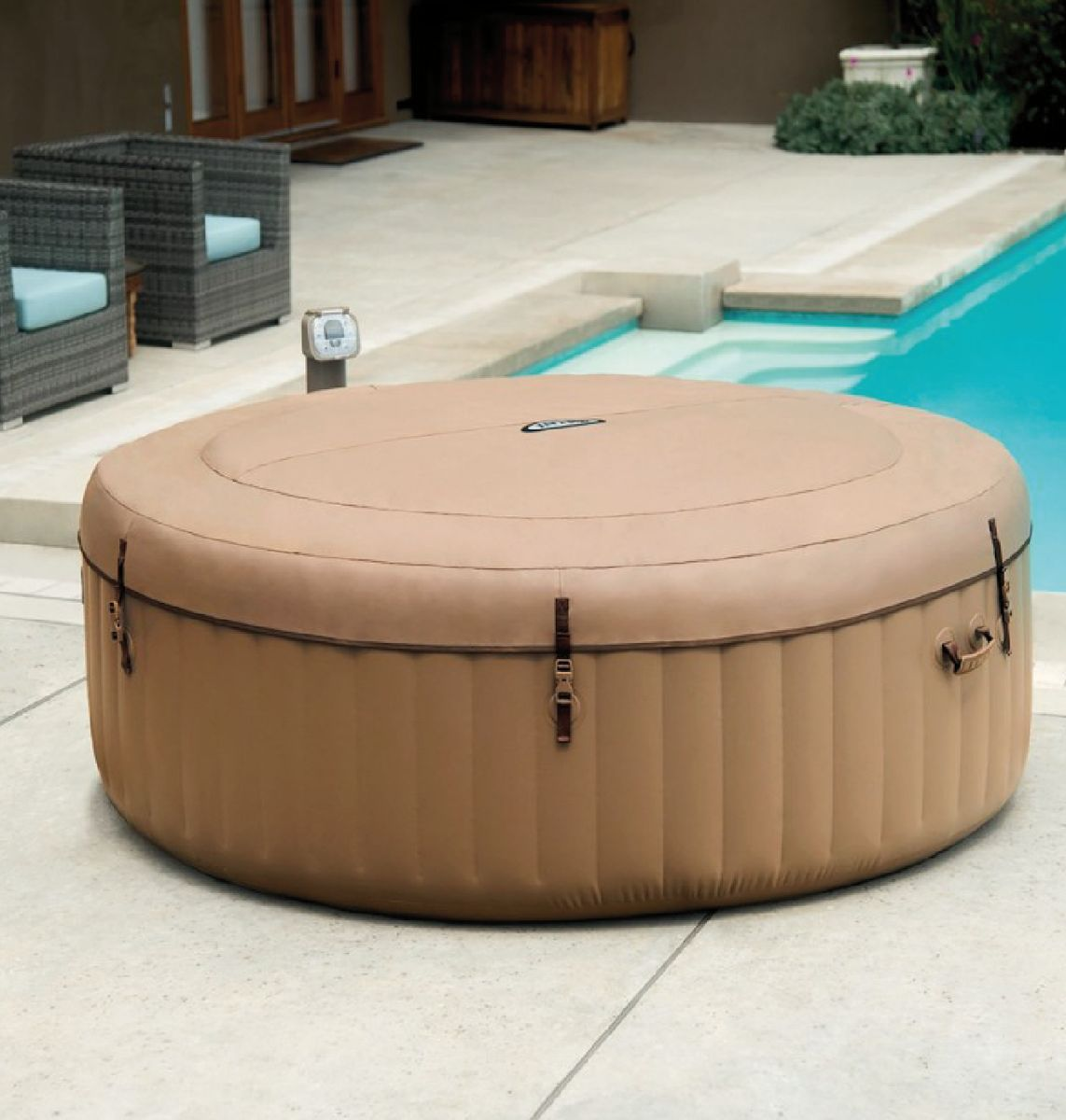 SPA GONFLABLE INTEX PURESPA ROND 4pl. BULLES BEIGE