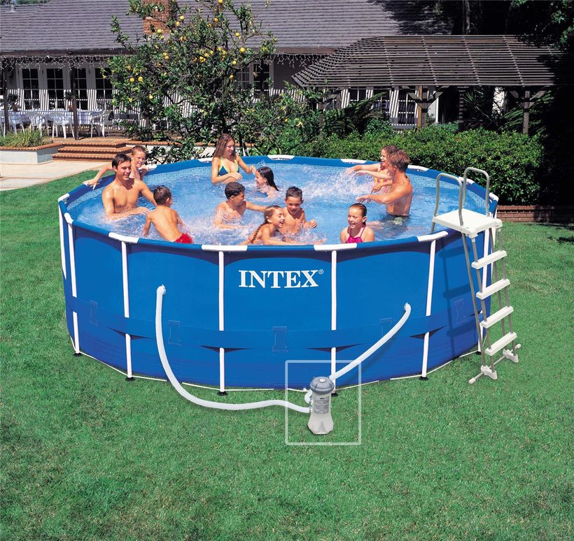 Piscine intex metal frame 4 57x1 22 cash piscines for Piscine 3 boudins intex
