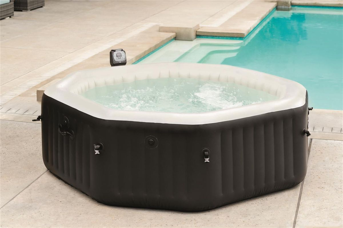 SPA GONFLABLE INTEX PURESPA OCTO 6pl. BULLES+JETS NOIR